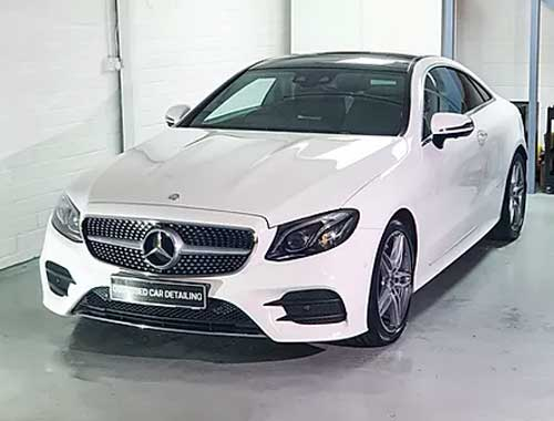 White Mercedes in Our Car detailing studio